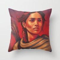 katniss Throw Pillows featuring Katniss by JenHoney