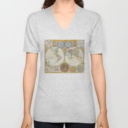General Map of the World by by Samuel Dunn and Thomas Kitchin (1794) Unisex V-Neck