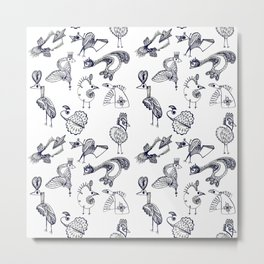 Sketch art with fairy birds and animals Metal Print