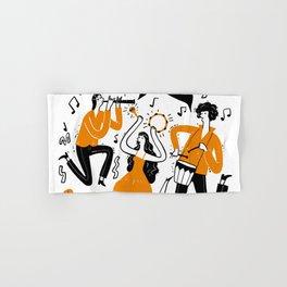 Hand drawn musicians playing music Hand & Bath Towel