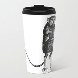 Say Cheese! | Tarsier with Vintage Camera | Black and White Travel Mug