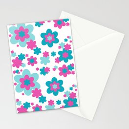 Teal Blue and Hot Pink Floral Stationery Cards
