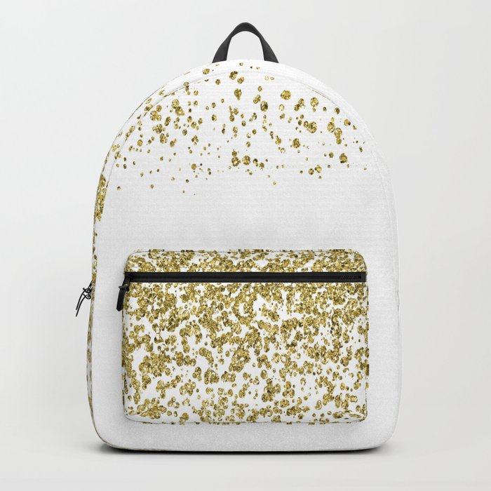 Sparkling gold glitter confetti on simple white background- Pattern Backpack
