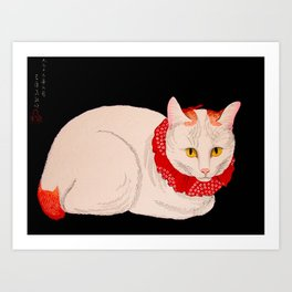 Shotei Takahashi White Cat In Red Outfit Black Background Vintage Japanese Woodblock Print Art Print