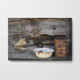Old Boots and Washtub Metal Print