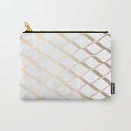 Luxe Gold Diamond Lattice Pattern on White Carry-All Pouch