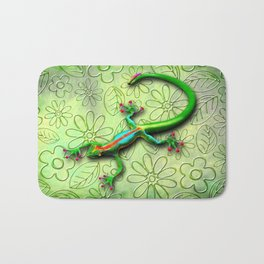 Gecko Lizard Rainbow Colors Bath Mat
