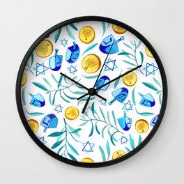 Hanukkah Dreidels Jewish Holiday Watercolor Pattern  Wall Clock