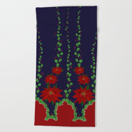 Poinsettia Holiday Design Beach Towel