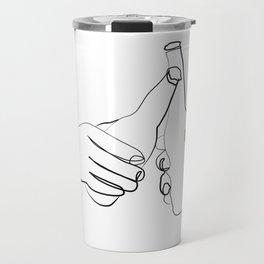 """ Kitchen Collection "" - Two Hands Holding Beer Bottles Travel Mug"