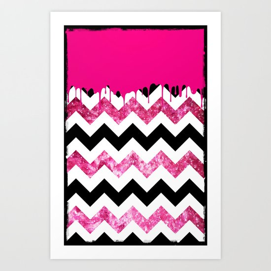 Dripping Chevron Pink - for iphone Art Print