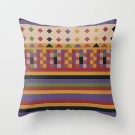 Stripes and squares ethnic pattern Throw Pillow