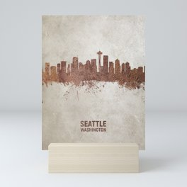 Seattle Washington Rust Skyline Mini Art Print