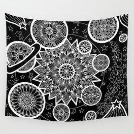 Inverted Solar System Mandalas Wall Tapestry