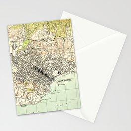 Vintage Map of Santa Barbara California (1944) Stationery Cards