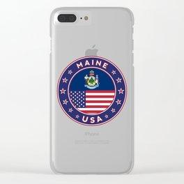 Maine, Maine t-shirt, Maine sticker, circle, Maine flag, white bg Clear iPhone Case