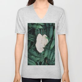 Nature Walk 001 - White Leaf Unisex V-Neck