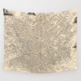 Vintage Map of Manchester England (1851) Wall Tapestry