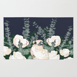 Bed of Flowers on Navy Rug