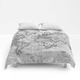 Black and White World Map (1801) Comforters
