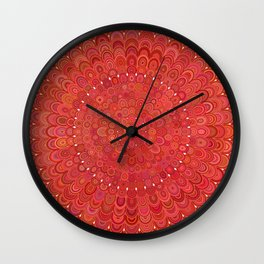 Red Floral Mandala Wall Clock
