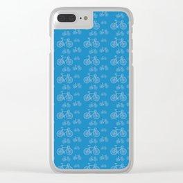 Blue Bike Pattern Clear iPhone Case