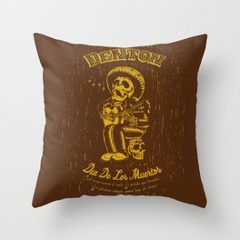 Denton Dia De Los Muertos woodcut Throw Pillow