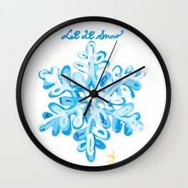 Let It Snow Snowflake Painting Wall Clock