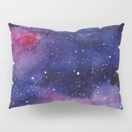 Watercolor Galaxy Nebula Pink Purple Sky Stars Pillow Sham