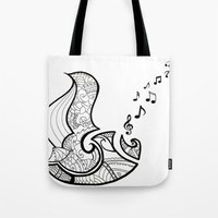 saxophone Tote Bags featuring Saxophone by Inailau Hut