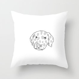 Spotted Puppy Dog, Dalmatian Puppy, Spotted Dog, Dog Drawing Throw Pillow