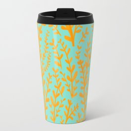 Mint Green and Yellow Leaves Gouache Pattern Travel Mug