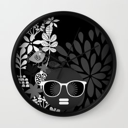 Afro Diva : Sophisticated Lady Black & White Wall Clock