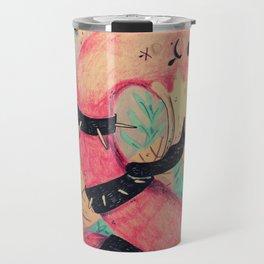 pink punk flamingo Travel Mug