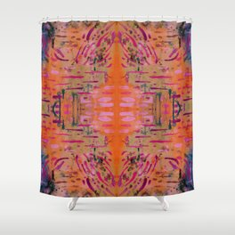 Strengthening Orange Geometric Pattern Watercolor Tapestry Shower Curtain