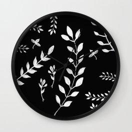 White Leaves Pattern #3 #drawing #decor #art #society6 Wall Clock