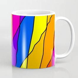 Slanting repetitive lines and rhombuses on bright yellow with intersection of glare. Coffee Mug