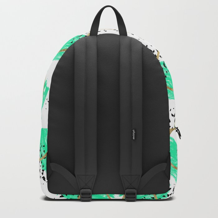 Abstract Black Teal and Faux Gold Brushstrokes Backpack