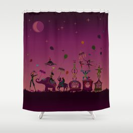 colorful circus carnival traveling in one row at night Shower Curtain
