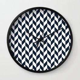 Dark Navy Blue Herringbone Pattern Wall Clock