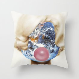 The World's On Her Mind Throw Pillow