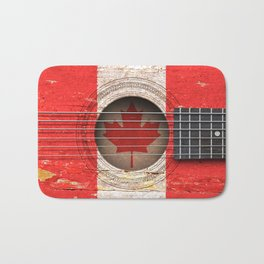 Old Vintage Acoustic Guitar with Canadian Flag Bath Mat