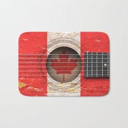 Old Vintage Acoustic Guitar with Canadian Flag Bath Mat
