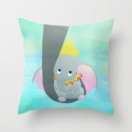 dumbo and his mom Throw Pillow
