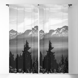 Morning in the Mountains Black and White Blackout Curtain
