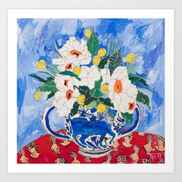 Queen of California - Giant Matilija Poppy Bouquet in Lion Vase on Blue Art Print