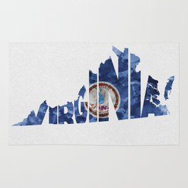 Virginia Typographic Flag Map Art Rug