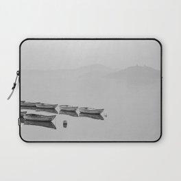 Small boat lake black white Laptop Sleeve