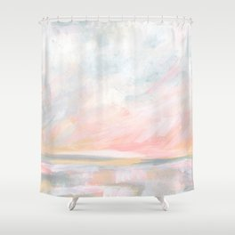Overwhelm - Pink and Gray Pastel Seascape Shower Curtain