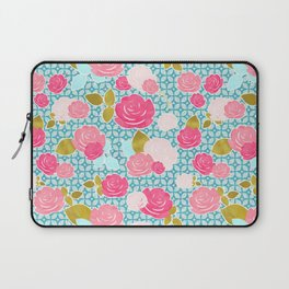 Blue & Pink Roses Allover with Geometric Pattern and Gold Laptop Sleeve